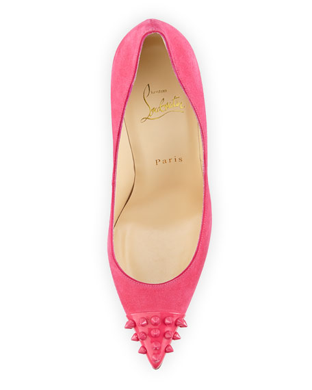 Geo Spike Point-Toe Red Sole Pump, Pink