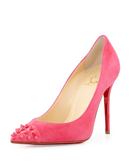 Christian Louboutin Geo Spike Point-Toe Red Sole Pump, Pink