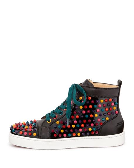 new concept e13fb 22133 Louis Spikes Calfskin High-Top Sneaker Black Multi