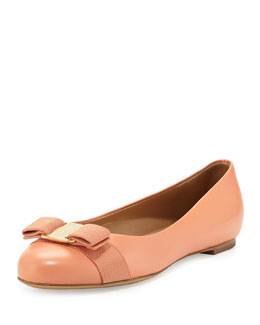 Salvatore Ferragamo Varina Leather Ballet Flat, Rosa Corallo