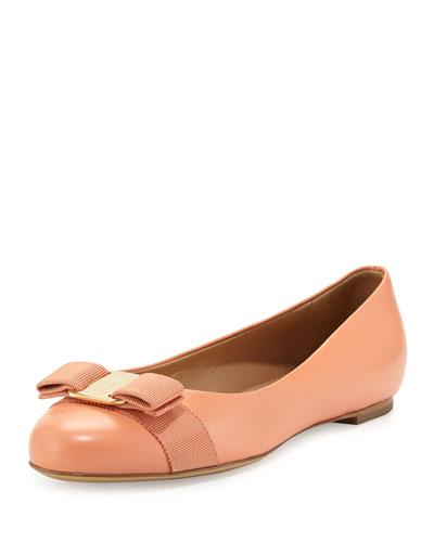 Salvatore Ferragamo Varina Leather Ballet Flat, Rosa Corallo