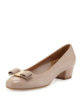 Salvatore Ferragamo Vara Bow Low-Heel Pump, Quarzo Fume