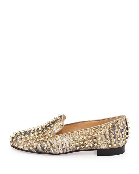 Rolling Spikes Glitter Loafer, Light Gold