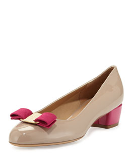Salvatore Ferragamo Vara Colorblock Patent Bow Pump, Quarzo Fume