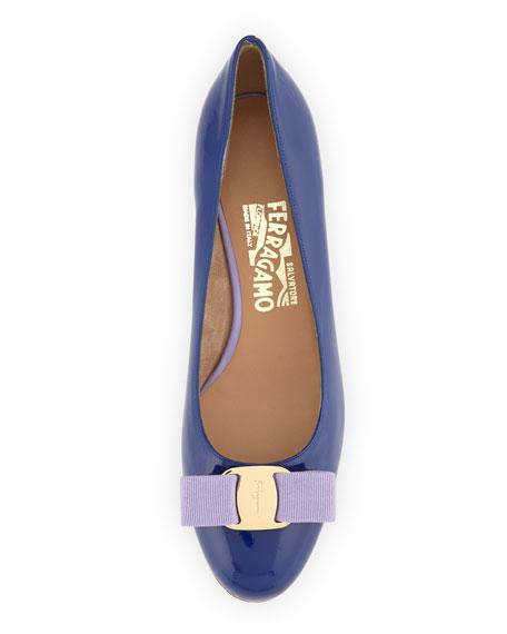 Vara Colorblock Patent Bow Pump, Zaffiro Lavender