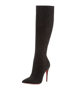 Christian Louboutin Tournoi Suede Pointed-Toe Knee Boot