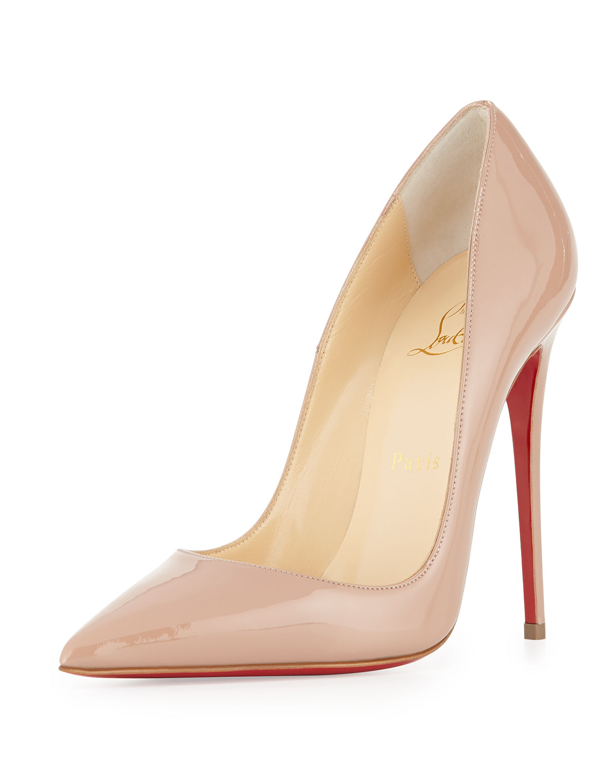 So Kate Patent 120mm Red Sole Pump Nude