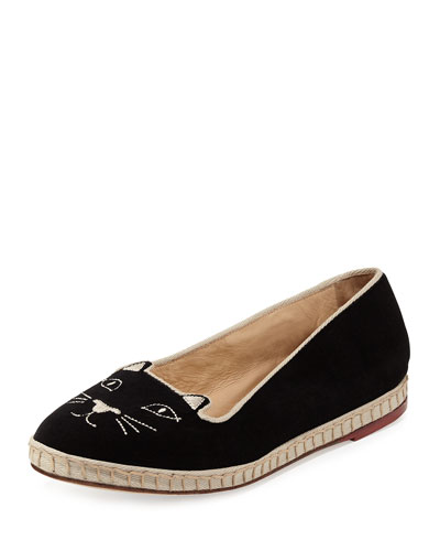 Capri Cats Velvet Slipper, Black