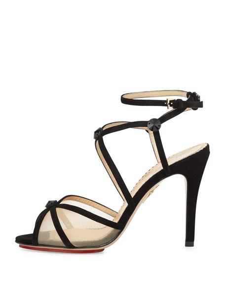 Isadora Strappy Suede Sandal, Black