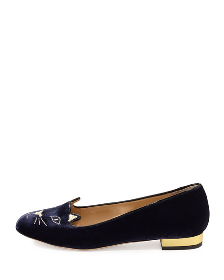 Kitty Velvet Ballerina Flat, Navy/Gold