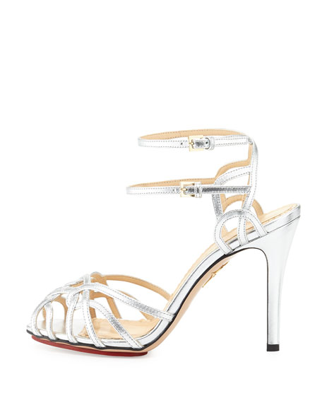 Charlotte Olympia Ursula Strappy Platform Sandal, Silver