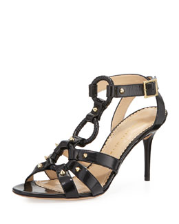 Charlotte Olympia Allure Studded Harness Sandal, Black