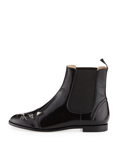 Cat-Face Leather Chelsea Boot