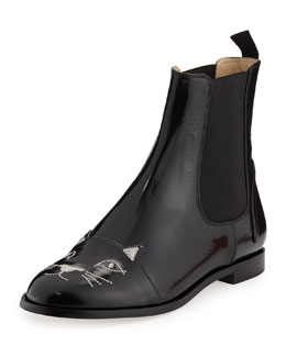 Charlotte Olympia Cat-Face Leather Chelsea Boot