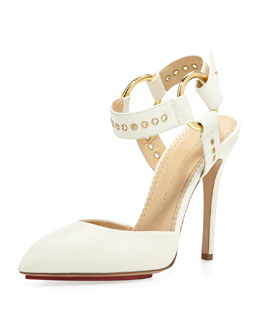 Charlotte Olympia Domina Patent Leather Ankle-Wrap Pump