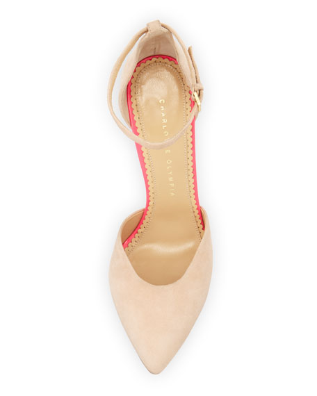 Heather Tassel Ankle-Strap Pump, Blush