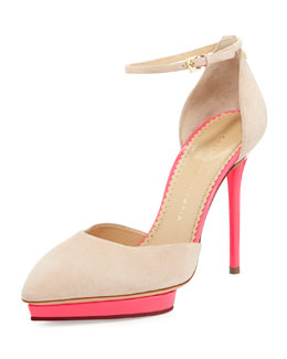 Charlotte Olympia Heather Tassel Ankle-Strap Pump, Blush