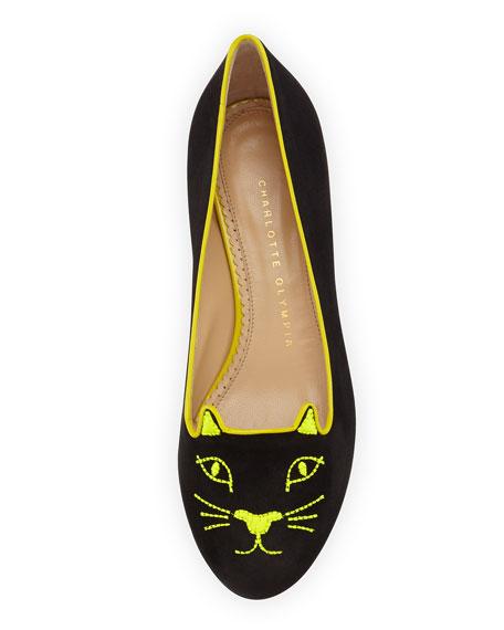 Kitty Studs Cat-Embroidered Flat, Dark Gray