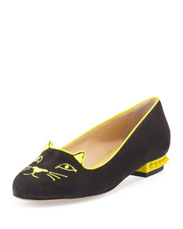 Charlotte Olympia Kitty Studs Cat-Embroidered Flat, Dark Gray
