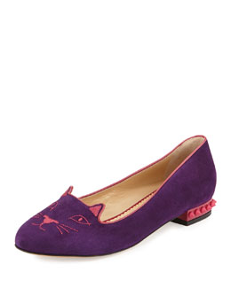 Charlotte Olympia Kitty Cat-Embroidered Spike-Heel Flat, Passionate Purple