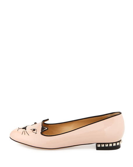Kitty Cat-Embroidered Stud-Heel Flat, Nude