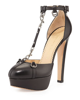 Charlotte Olympia Lady Danger T-Strap Chain Pump, Black