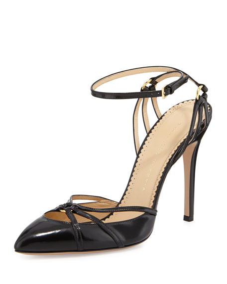 Charlotte Olympia Minx Strappy Ankle-Wrap Pump, Black