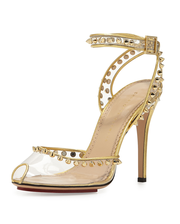 9a8da5486308 Charlotte Olympia Soho Studded PVC Ankle-Wrap Sandal