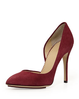 Charlotte Olympia The Lady is a Vamp Suede Pump, Bordeaux