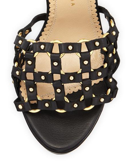 Xena Triple-Buckle Leather Platform Sandal, Black
