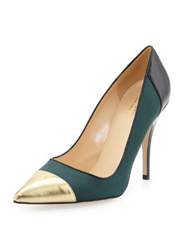 kate spade new york liberty cap-toe suede pump, green/gold