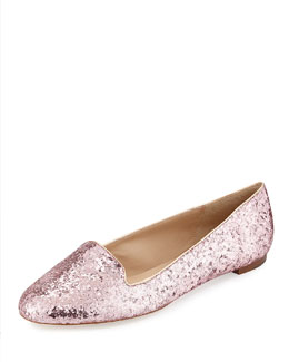 Kate Spade trick glittered smoking slipper, rose gold