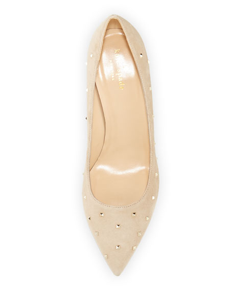 jacinda studded suede pump, light camel