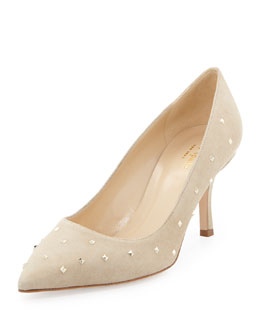 Kate Spade jacinda studded suede pump, light camel
