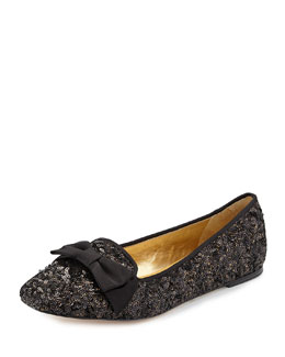 Kate Spade audrina sequined bow-top flat, black/antique