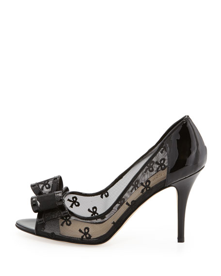 calina bow-mesh pump, black