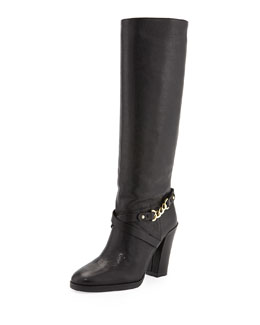Kate Spade montreal chain-link leather boot, black