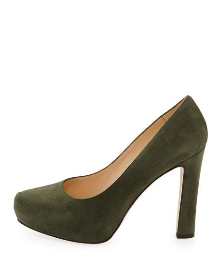 nessle suede platform pump, loden green