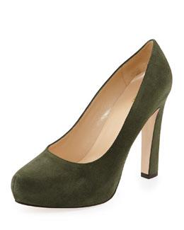 Kate Spade nessle suede platform pump, loden green