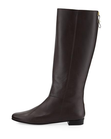 orlena knee-high flat boot, chocolate