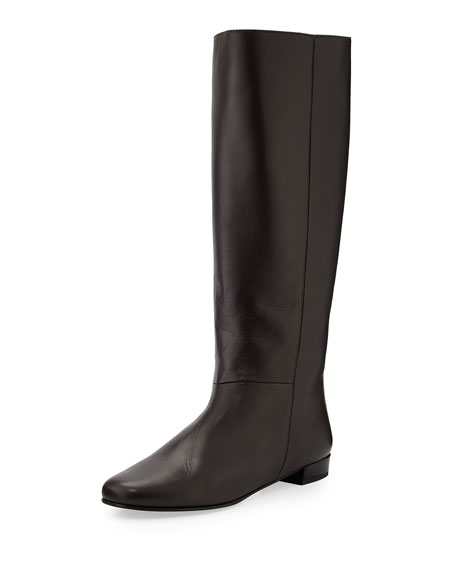 orlena knee-high flat boot, chocolate