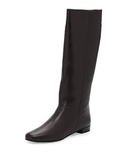 Kate Spade orlena flat studded bow zip knee boot, chocolate