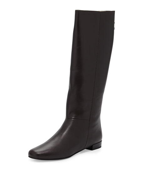 orlena flat studded bow zip knee boot, chocolate