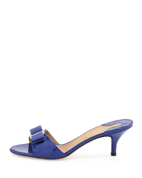 Glory Patent Bow Slide Sandal, Zaffiro Viola