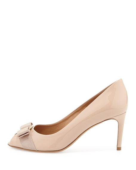 Patent Peep-Toe Bow Pump, New Bisque
