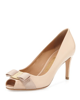 Salvatore Ferragamo Pola Patent Peep-Toe Bow Pump, New Bisque