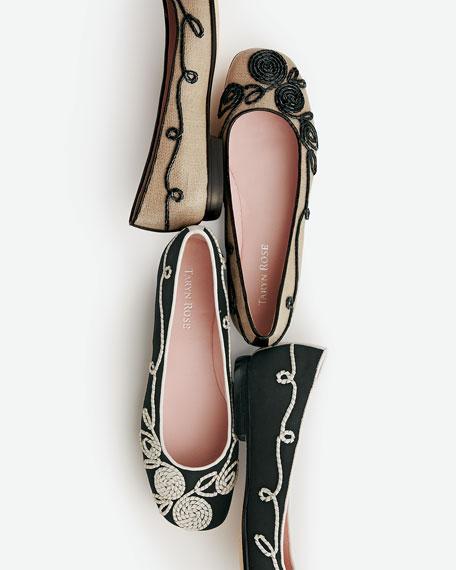 Bubka Embroidered Ballerina Flat, Natural/Black