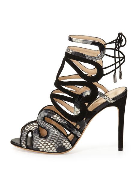 Python & Suede Laced-Back Sandal