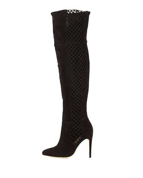 Stretch Suede & Crochet Over-the-Knee Boot