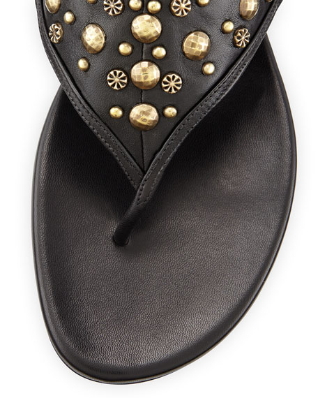 Studded Napa Thong Sandal, Black